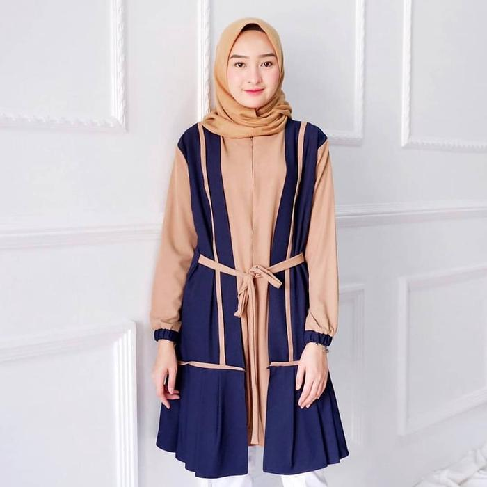 Tunik Dress Wanita Minimalis Trendy - SAR NADYA NAVY